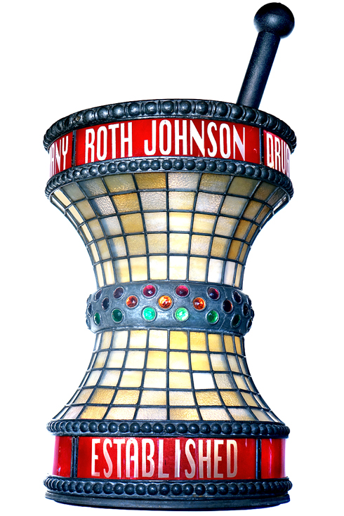 Jeweled Leaded Glass Apothecary Trade Sign…..  The Ross Johnson Drug Co Est.1924