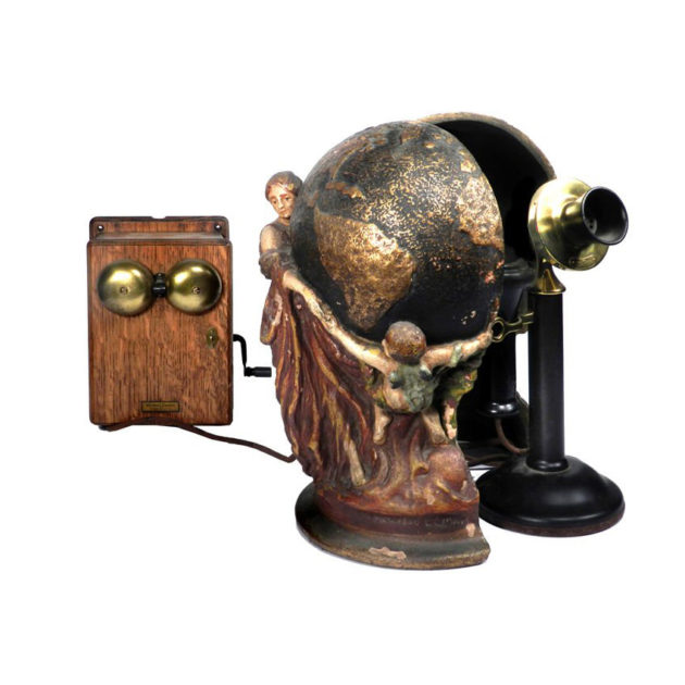 1910 Hid-A-Phone Desk Sculpture plus Telephone