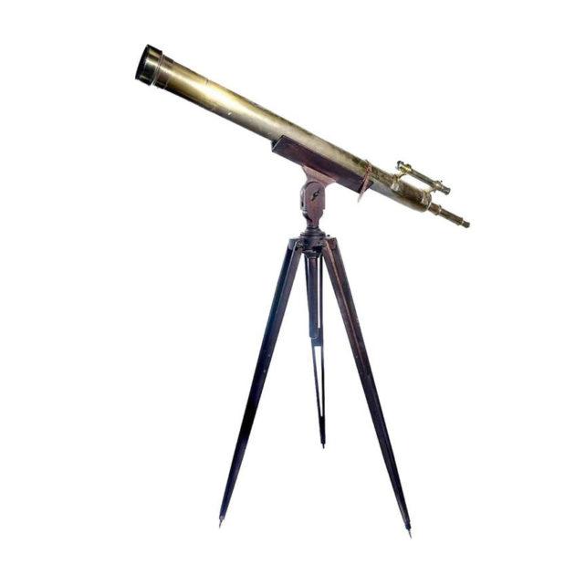 Early Brass Telescope with Mahogany Tripod