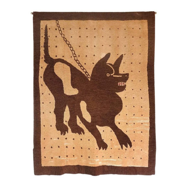 Bad Dog Folk Art Hooked Rug