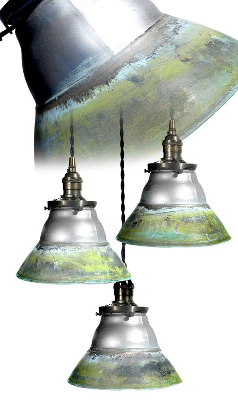 Unique Verdigris Copper Mercury Glass Mirrored Pendants