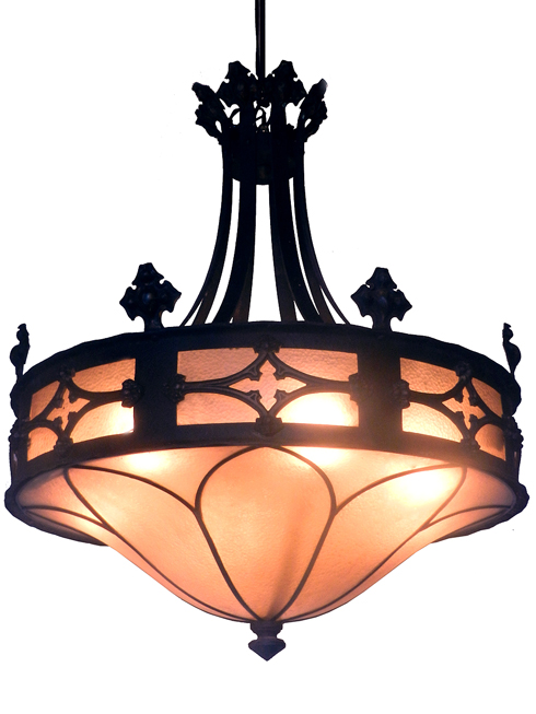 Church Salvage – Collection of over 30 Gothic amber glass chandeliers and flush mounts