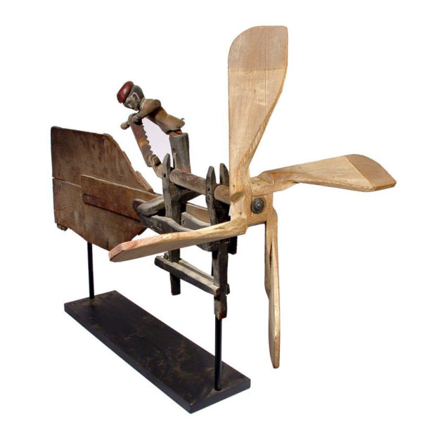 Early Folk Art Whirligig- Articulated Worker Sawing Wood