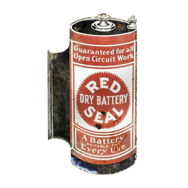 Early Porcelain Red Seal Battery Sign