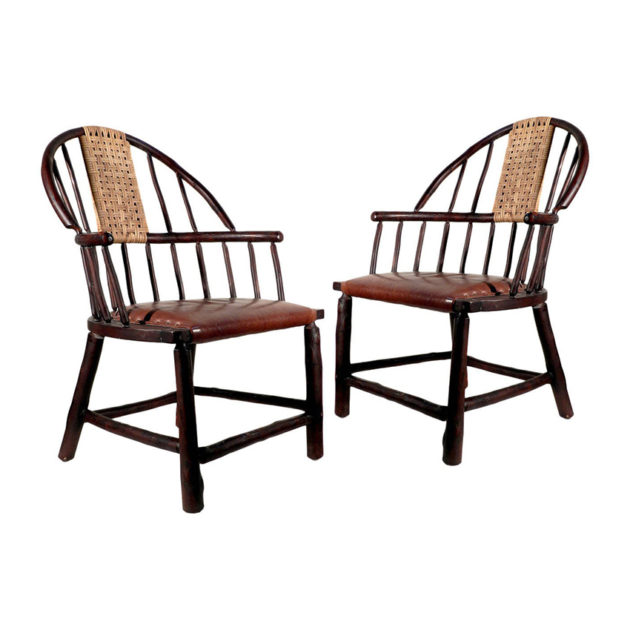 Oversized Handmade Hickory Windsor Chair|Matching Pair