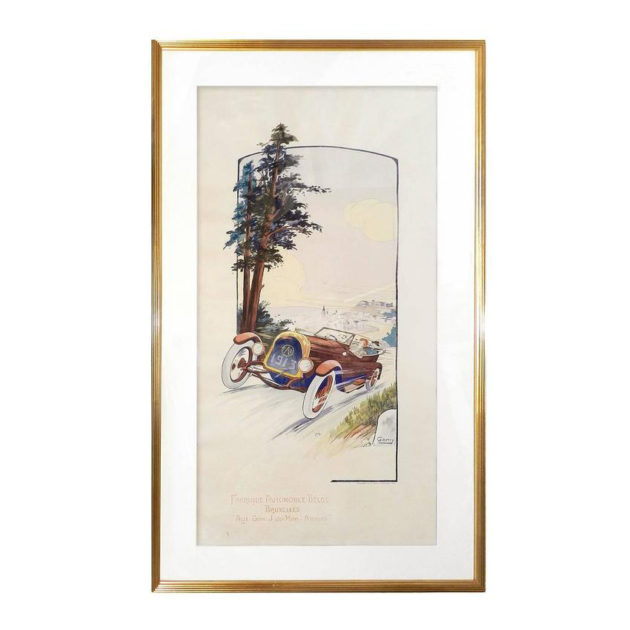 Nicely Framed French 1913 Hand-Colored Print by Gamy-Montaut