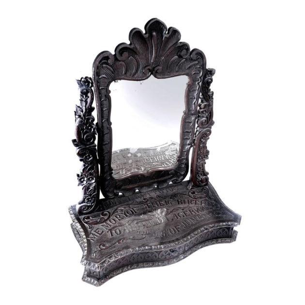 Elaborately Carved Tribute Folk Art Americana Mirror|1894