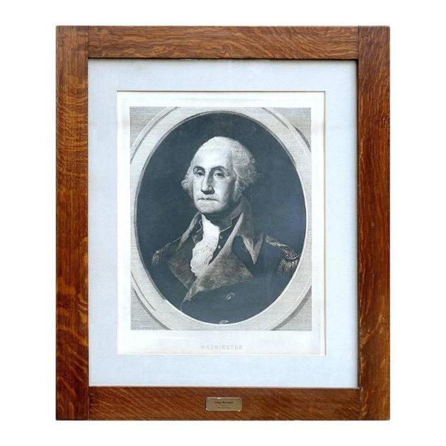 Large Impressive Framed Engraving of George Washington|1880