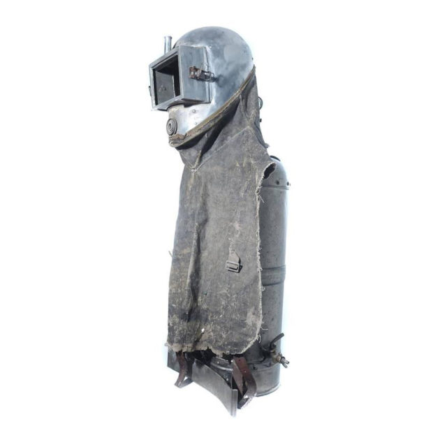 Early Sprayers Safety Suit on Custom Museum Stand