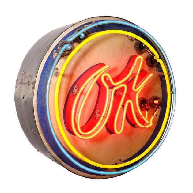 Original Chevy Mid-Century OK Neon Sign