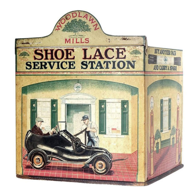 Shoe Lace Service Station|Very Rare Tin Litho Store Display